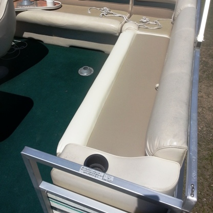 Pontoon Seat recovered with Naugahyde Vinyl